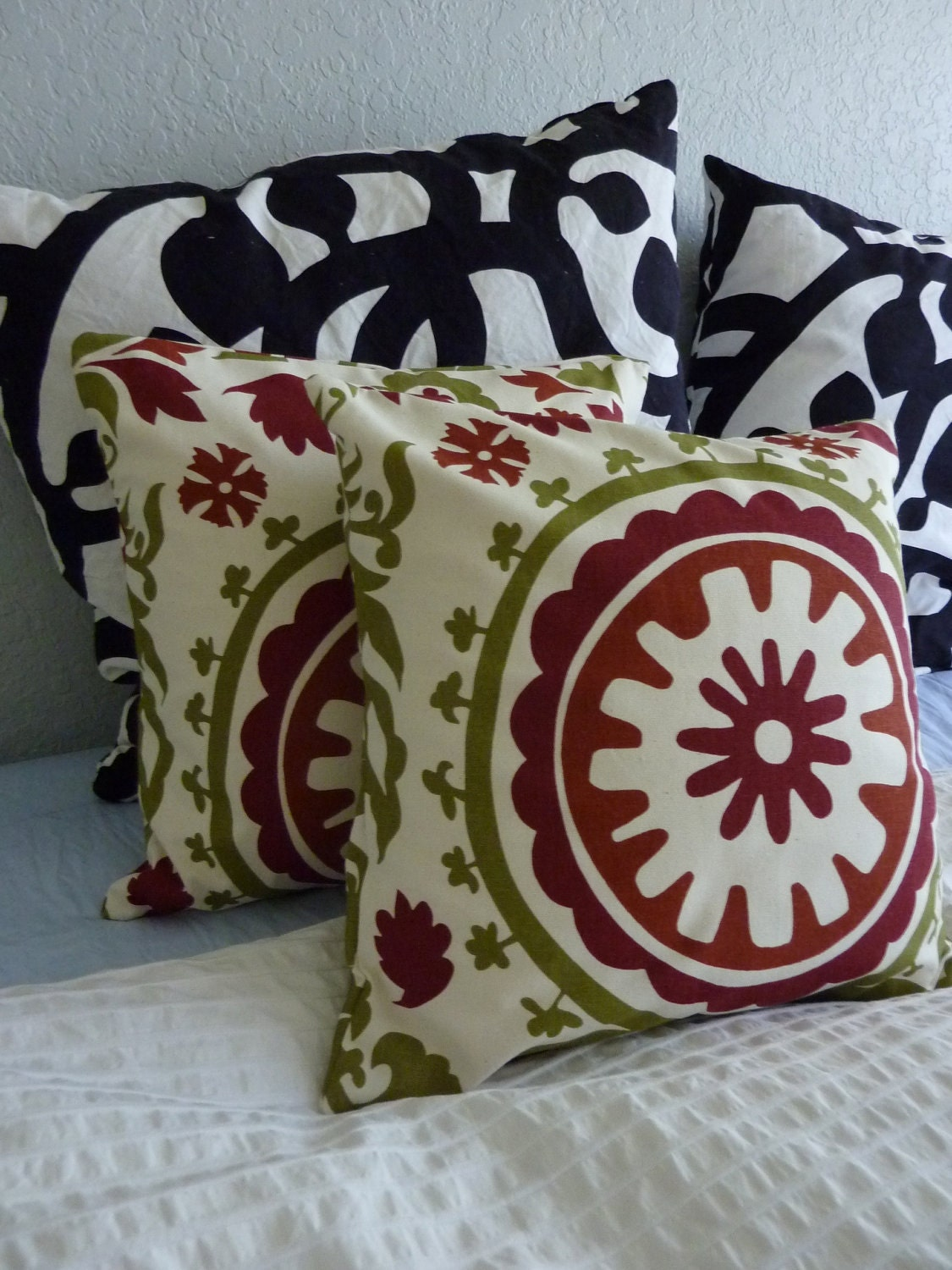 Decorative Pillows Cover- Premier Prints Suzani Autumn/Natural -  TWO 16x16