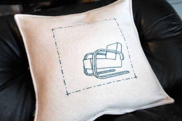 A chair stitched on a pillow for your...chair.