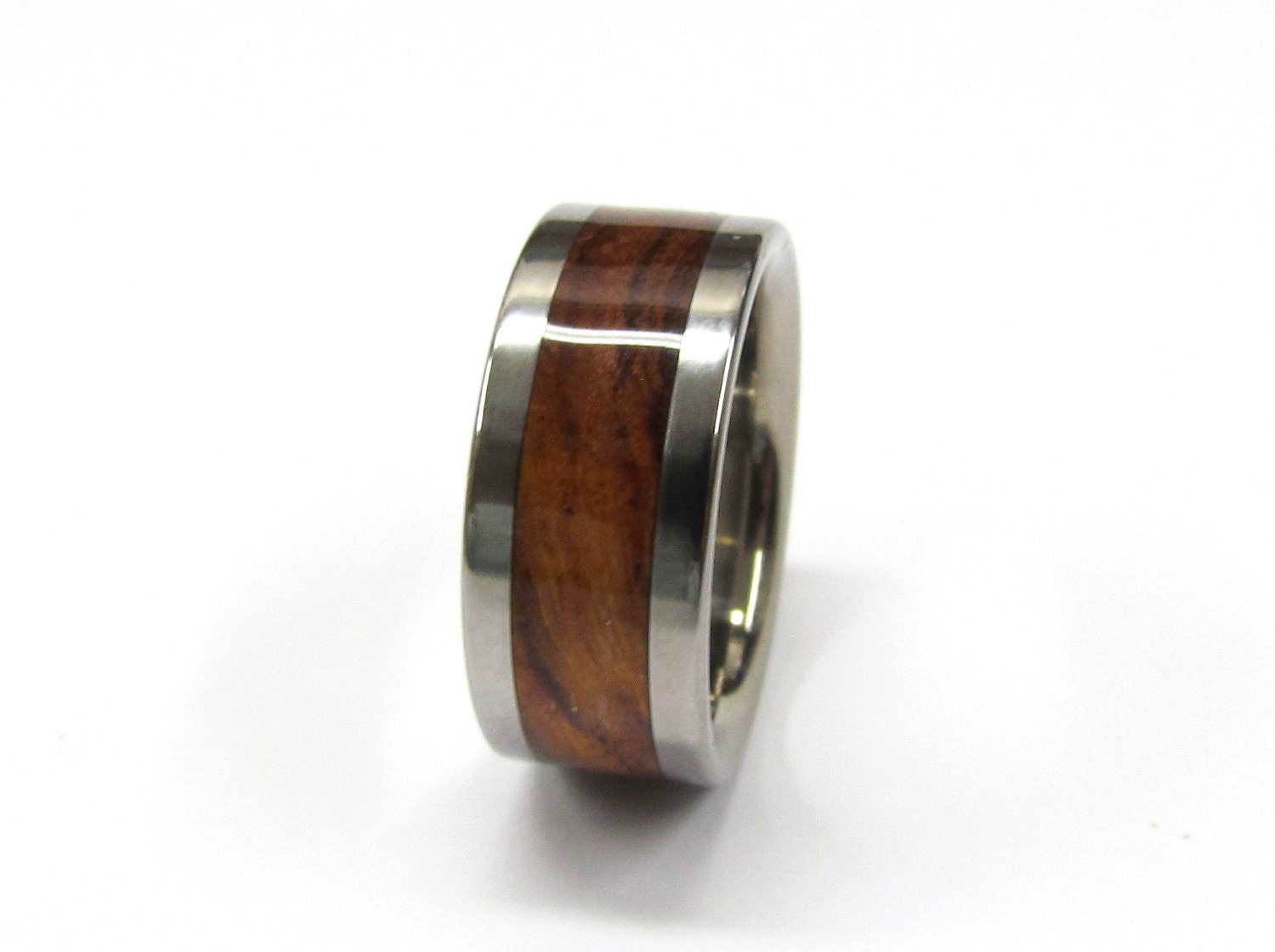 Titanium Ring Exotic Koa Wood Mens Or Ladies Wedding Band In Sizes 4 17 HandCrafted