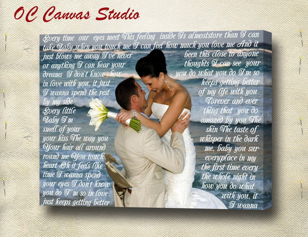 Valentine's Day Gift- Wedding Photo  Canvas Print with Wedding Songs Lyrics/Vows/Poem/Quotes. Personal/Unique Wall Decor.