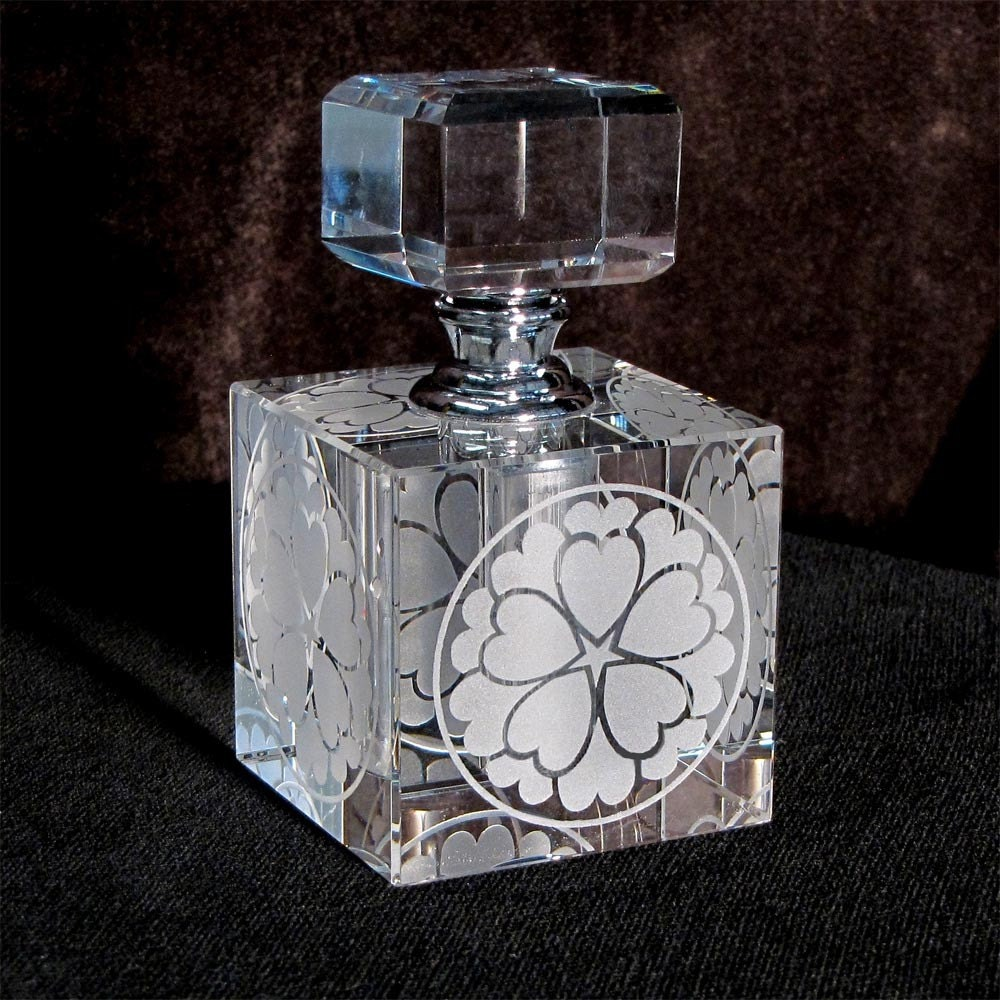 Perfume Bottle, Flowering Heart, Glass Etched