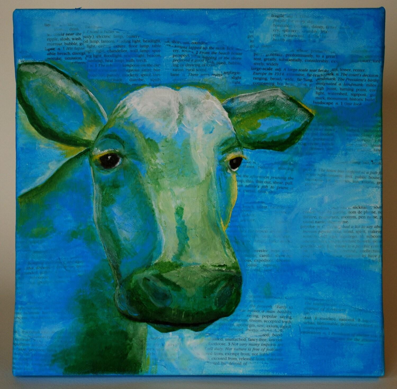 Синей росписью Корова .. Есть ли у меня синий молоко слишком