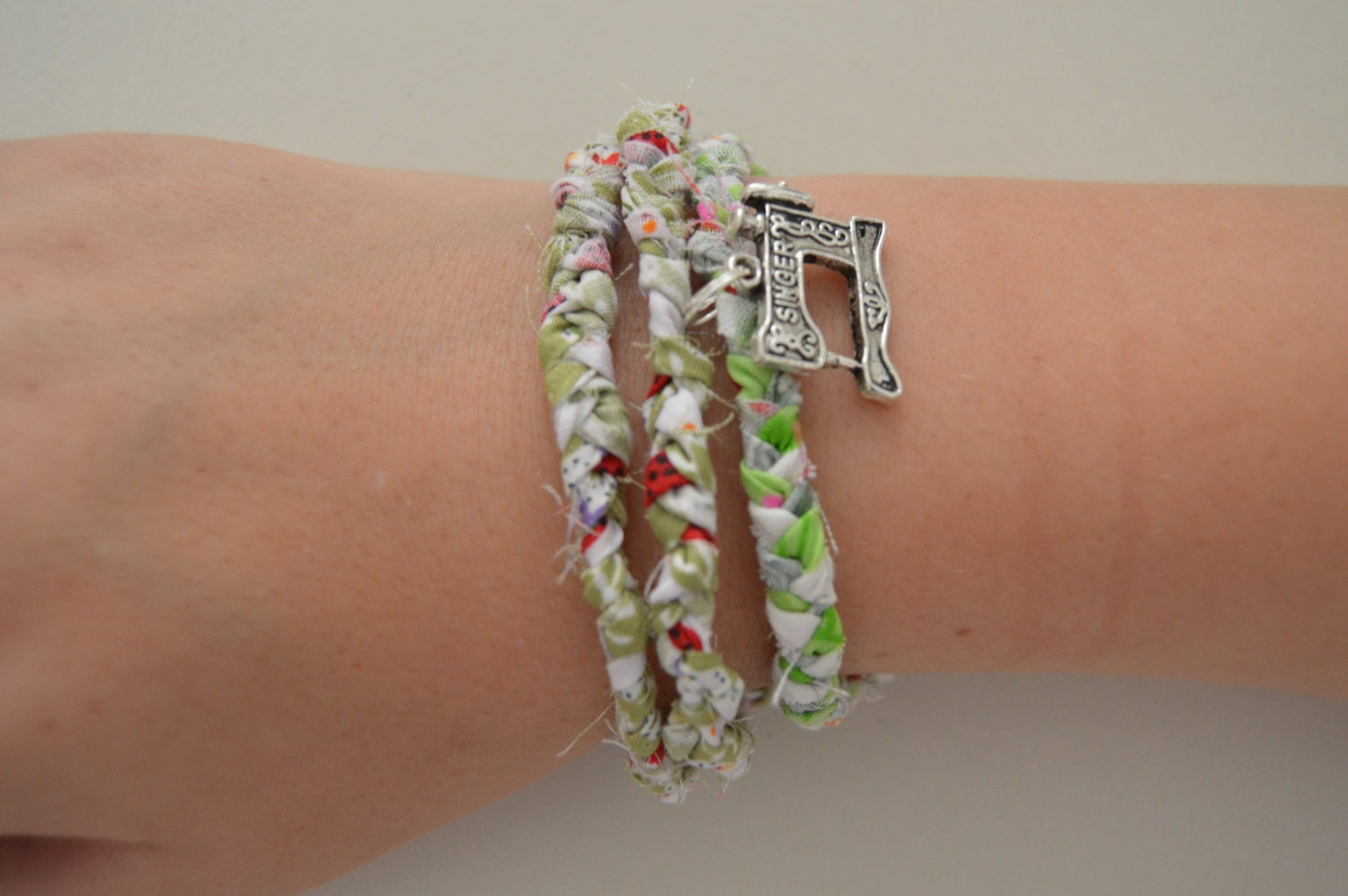 Set Of Two Friendship Bracelets With A Clasp And Sewing Machine CharmBraided BraceletsWoven Bracelets