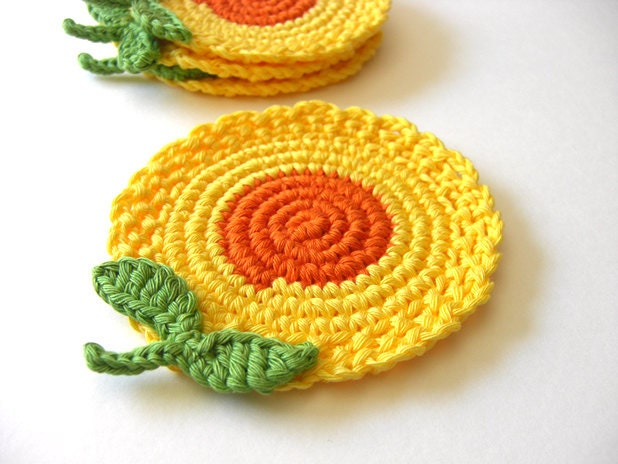 Yellow Orange Flowers Coasters . Honey Mustard Golden Sun Green Leaves Decor Crochet Spring Garden Collection - Set of 4