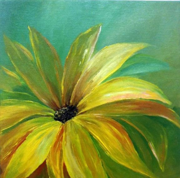 Original painting art wall decor pop of color by artbygeorgia for How to paint flowers with acrylics on canvas