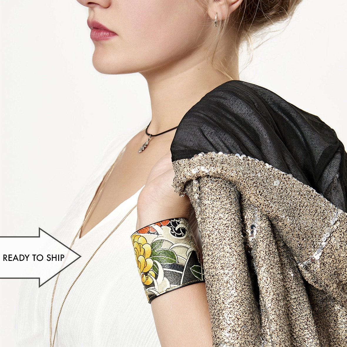 Leather Cuff Wallet also with Contactless Payment Chip  Chrysanthemum and Wave Tattoo SALE!