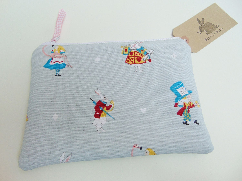 Handmade Alice In Wonderland Makeup Bag White Rabbit Fabric Sophie Allport Alice Fabric Zip Pouch