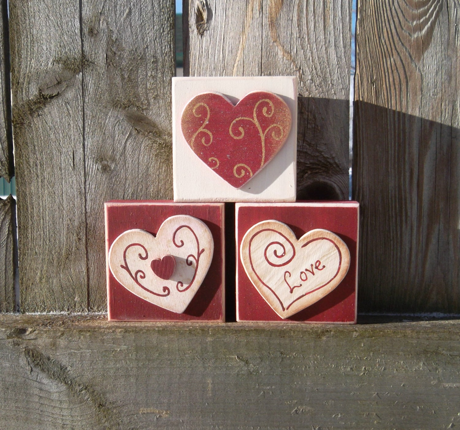 Valentines Shelf Sitter Heart Blocks - TimelessTreasuresbyK