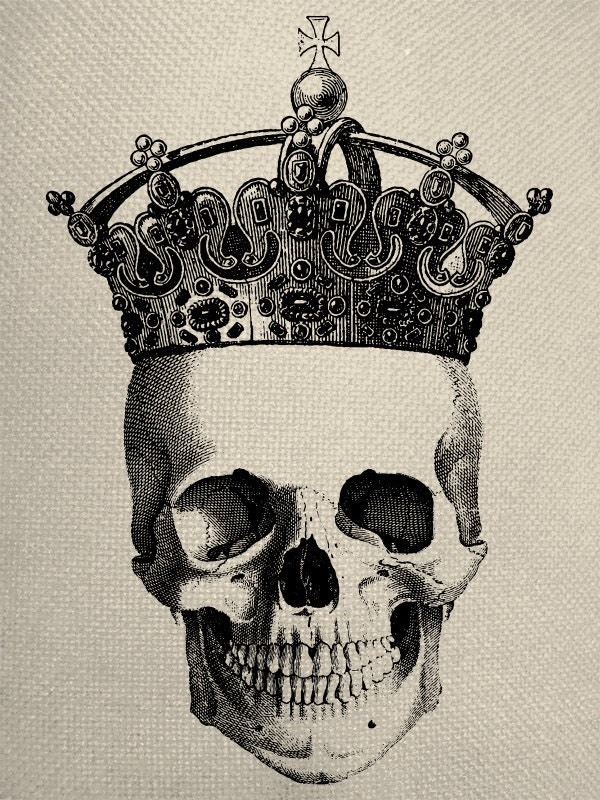 Skull With Crown Engraving Digital Collage By