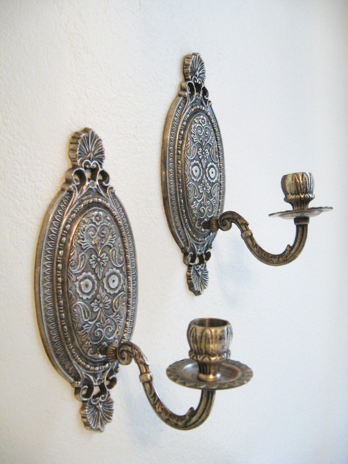Wall Candle Sconces Silver : pair ANTIQUE Silver FRENCH Style wall SCONCE by fabulousmess