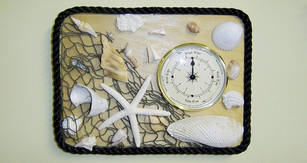 Clock, Wood with Seashellsl-Fishnet Accents, Handmade in New York
