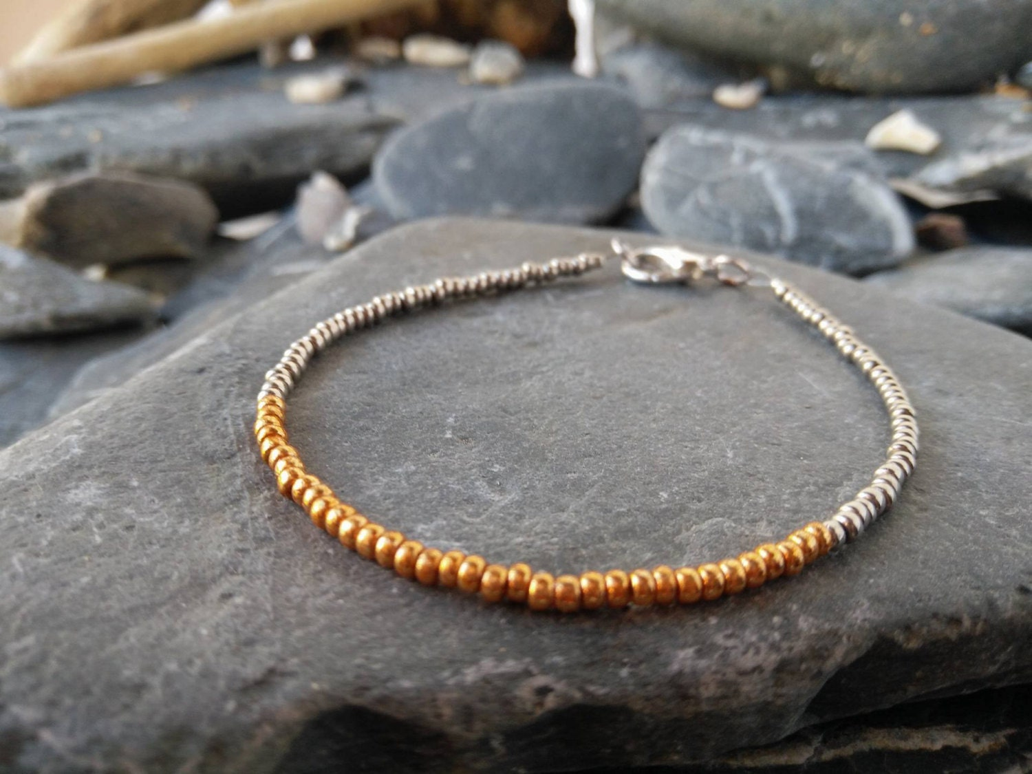 Silver and Gold Seed Bead Bracelet  Silver and Gold Bracelet  Stacking Bracelet  Seed Bead Bracelet  Dainty Bracelet  Handmade Bracelet