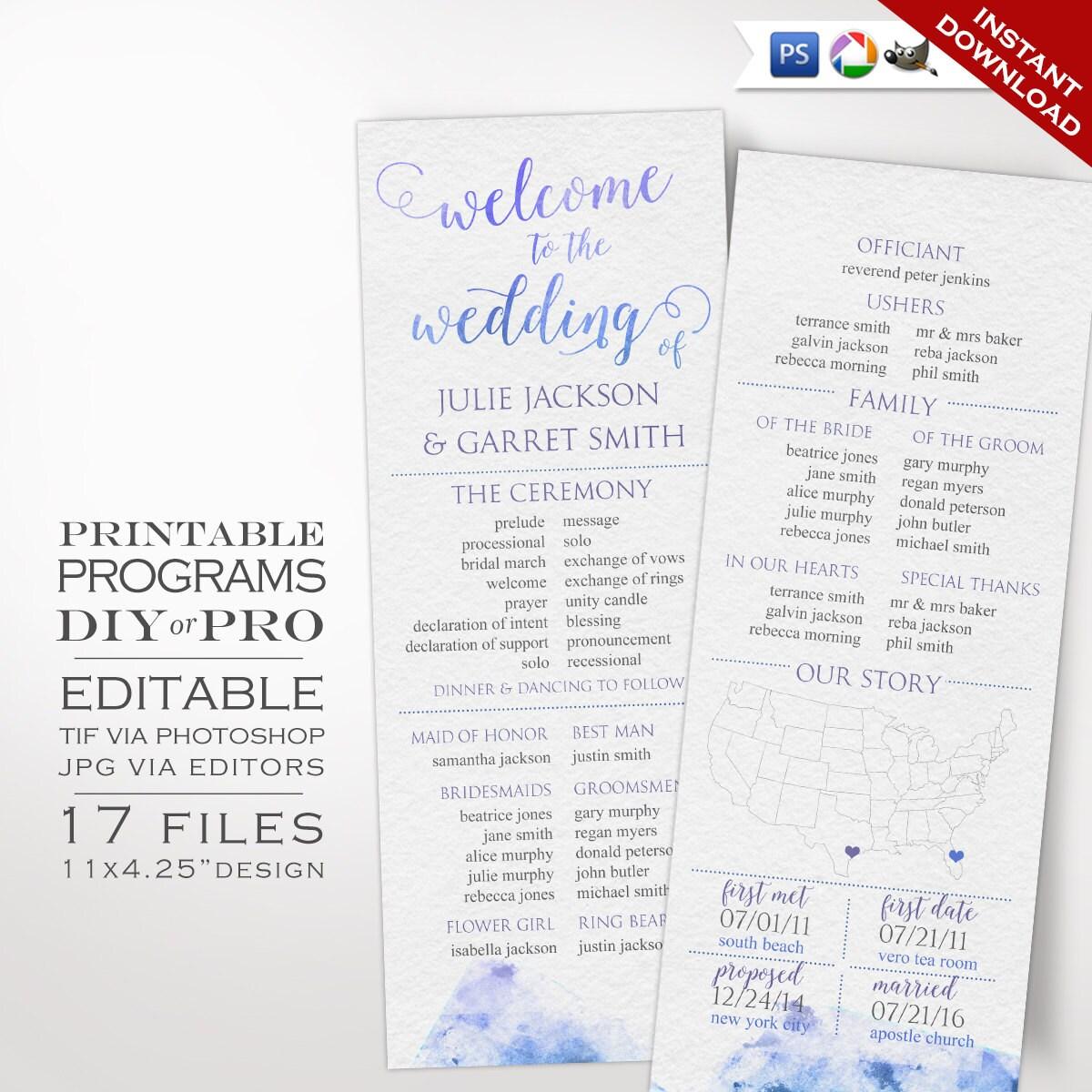 Wedding Program Template  Watercolor Wedding Program  Printable DIY Watercolor Wedding Invitation Editable Wedding Invite