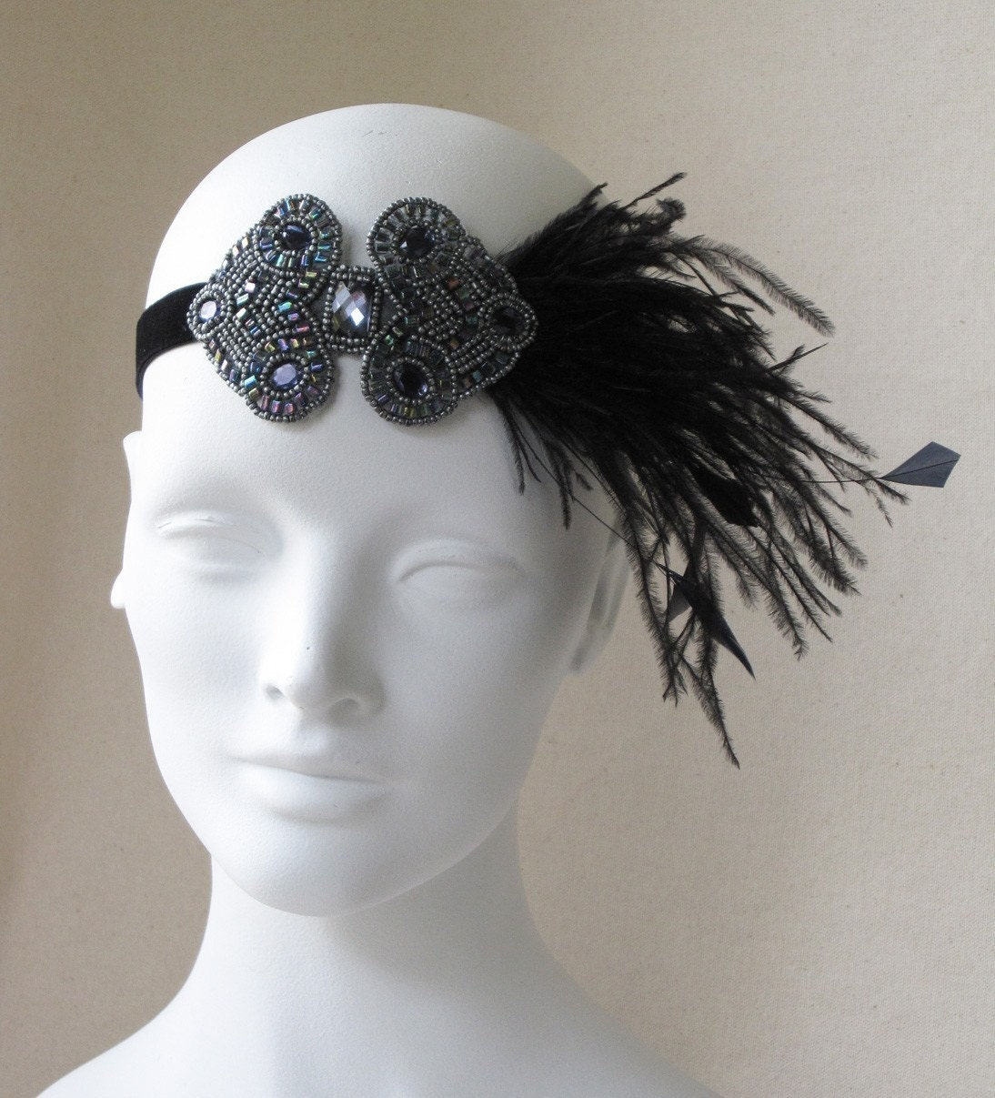 Gunmetal And Black Deco Applique And Feather Headband