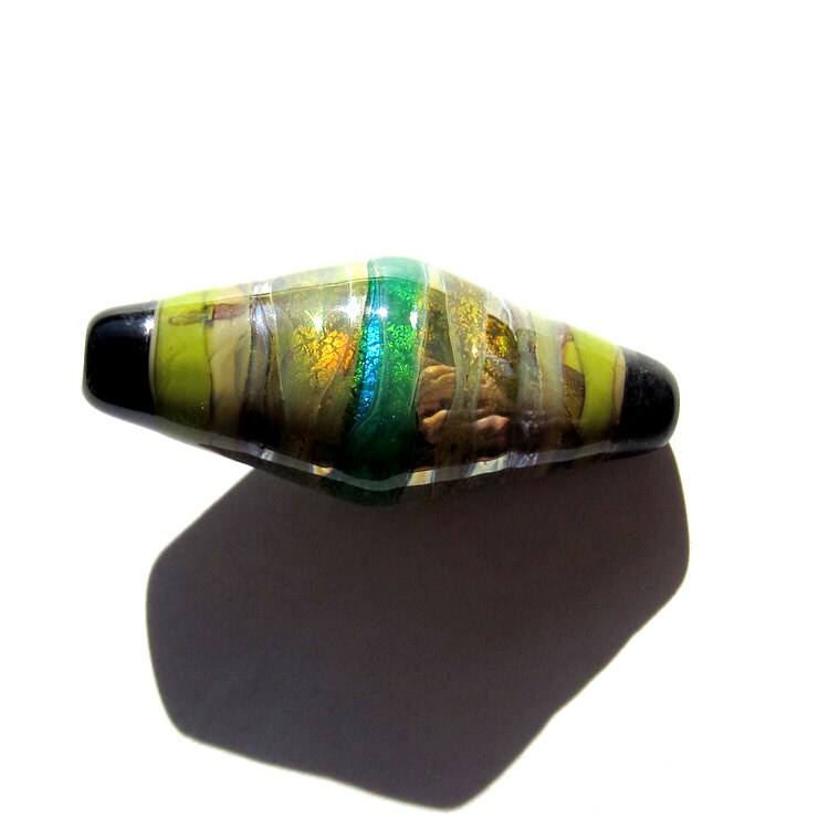 Handcrafted Lampwork Glass Bicone Focal Bead Aqua Green Yellow Silver banded - PomegranateGlass