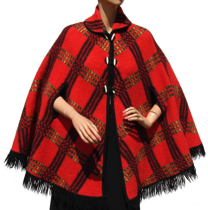 Vintage 60s Red Black and Yellow and Green Plaid Wool Reversible Cape