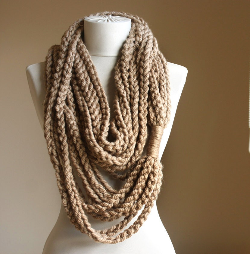 Beige crochet scarf Infinity chain scarf Oatmeal autumn fall fashion winter accessories - violasboutique