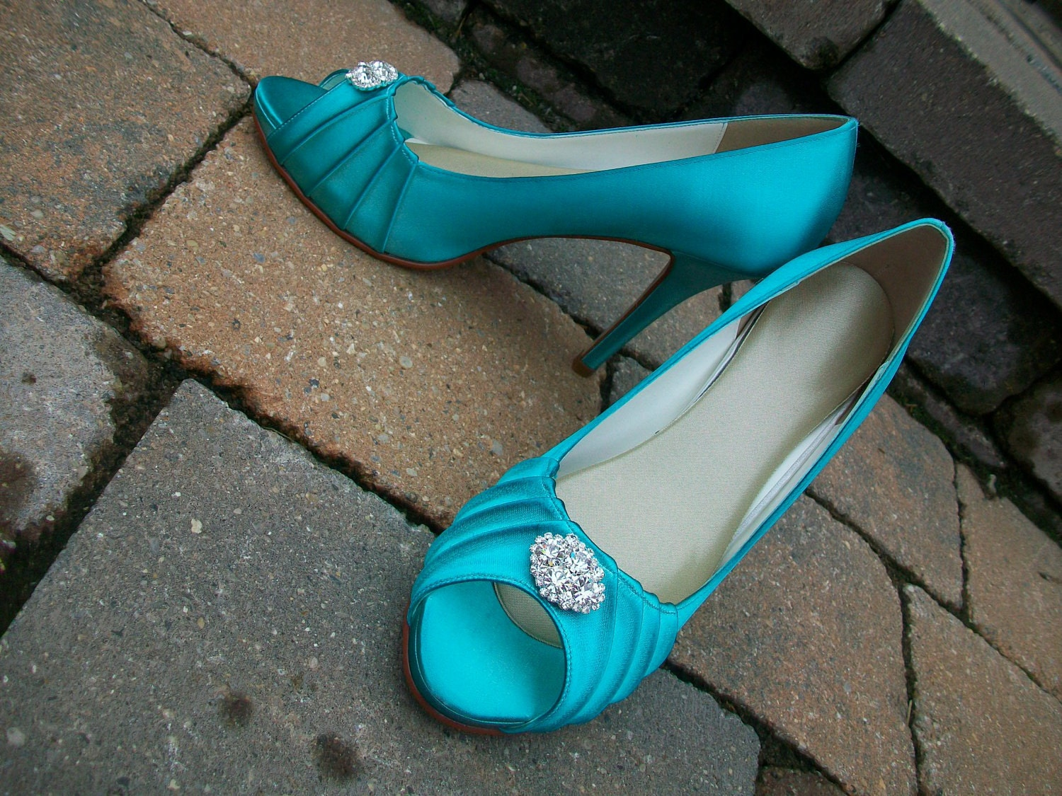 Blue 4 1/8 Inch Platform Satin Shoe...Ready To Embellish...Here comes The Bride