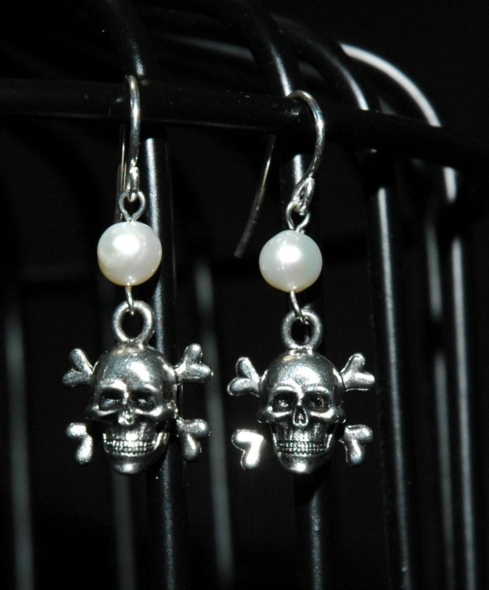 White Pearl Skull and Crossbone Earrings