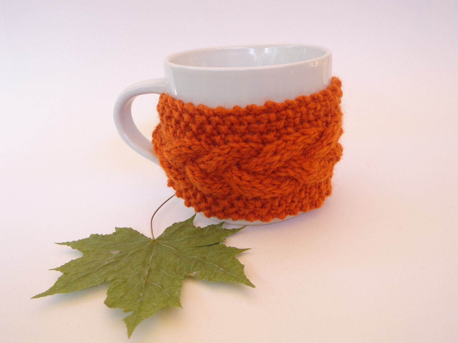 Orange cup cozy, knitted with braids, soft, warm - SpringFresh