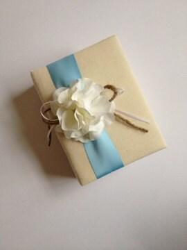 Something Blue Wedding Photo Album - White Hydrangeas - Light Blue Ribbon, Rustic Ribbon and Rope Bow- Handmade - CoutureLife
