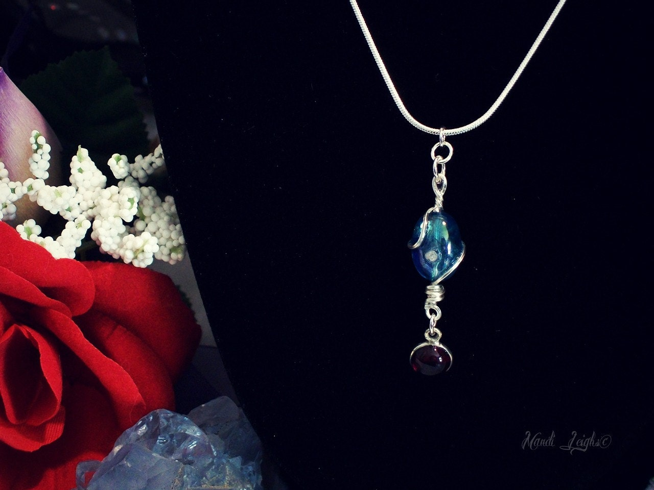 Aqua Aura Diamond and Garnet Sterling Silver Wire Wrapped Necklace