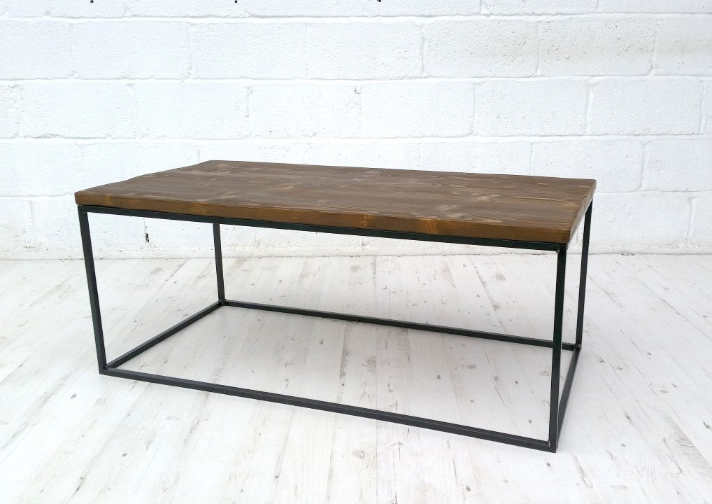 Vintage industrial coffee table reclaimed timber  solid square bar.
