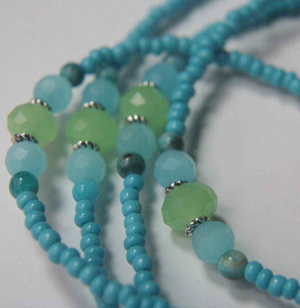 Aqua and Green beaded lanyard