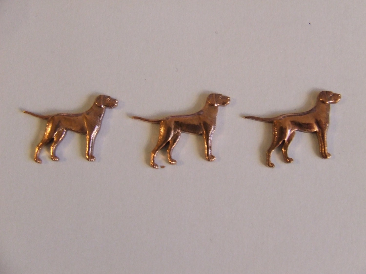 Antique Jewellery Stampings of German Pointer Dogs Original Findings in Strong Copper Alloy Quantity 10