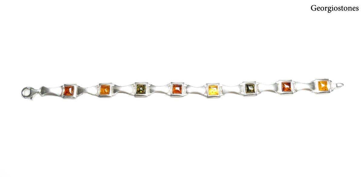 Vintage Sterling Silver Amber Bracelet Handmade in Greece Amber Link Bracelet