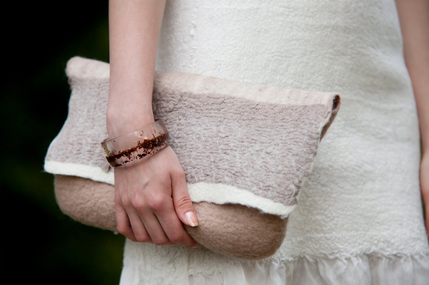 Felt handbag Latte color merino Wool original Summer  Women Accessory Ready for shipping - woolDesign