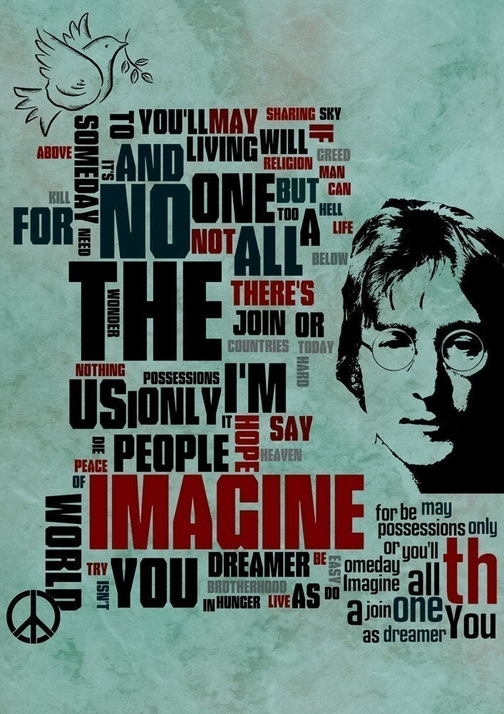 Music Fine art Mixed Media  poster John Lennon  .imagine .collage - green vintage dark black typography size 11,69 X 16,535 inches by Artistico