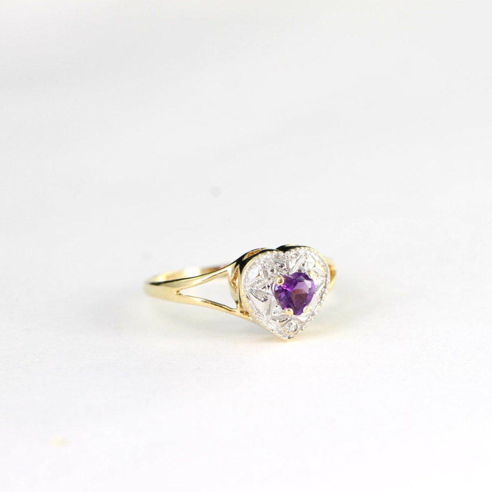 Heart shaped amethyst and diamond ring in 9 carat white and yellow gold vintage for her UK