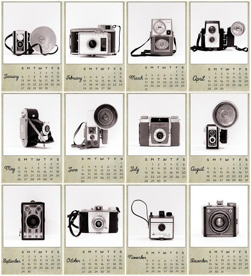 2013 Calendar Vintage Camera Calendar Modern Decor Retro Black and White Geekery For the Photographer, (13) 4 x 6 Fine Art Prints