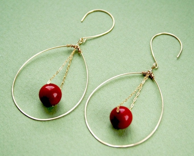 14K Gold-Filled Coral on Chain Earrings
