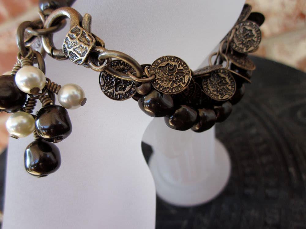 Bronze Roman Coins, Swarovski Pearls, Brass Chain-Coined Pearls Bracelet