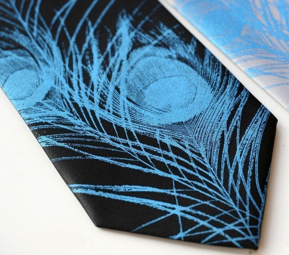Silk peacock feather silkscreened necktie