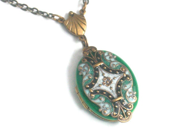 Green Art Deco Style Locket - Resin Brass Filigree - Handmade Oval Necklace Pendant