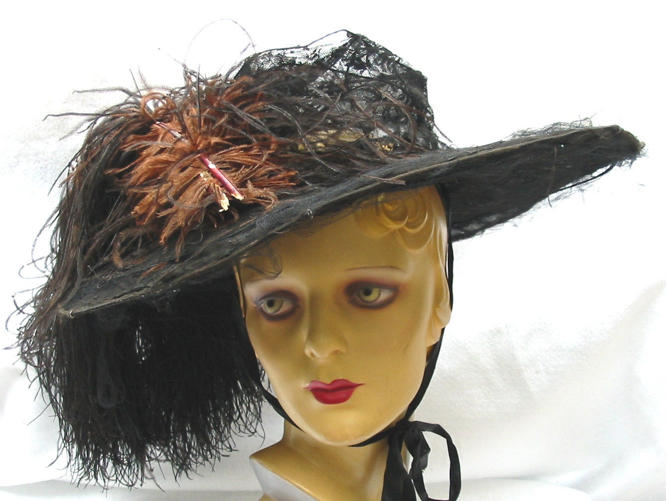 Huge Edwardian Antique Wide Brim Hat with Ostrich Feather 1910