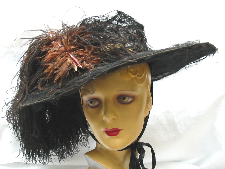Huge Edwardian Antique Wide Brim Hat with Ostrich Feather 1910