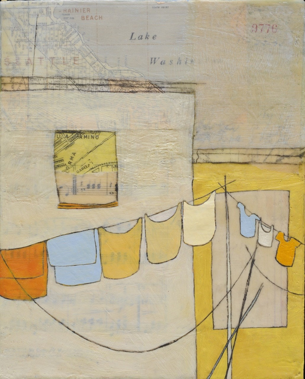to make lines  and wait- original mixed-media encaustic painting