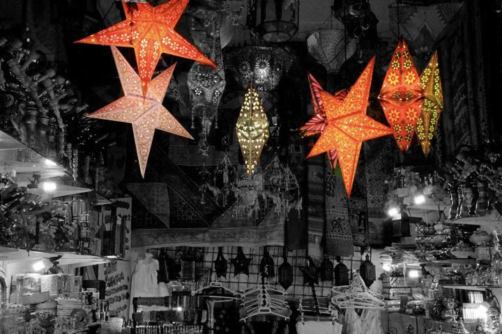 Travel Photography, boutique Moroccan shop with hanging lanterns, Granada, Spain Wall Print - malandraphotography