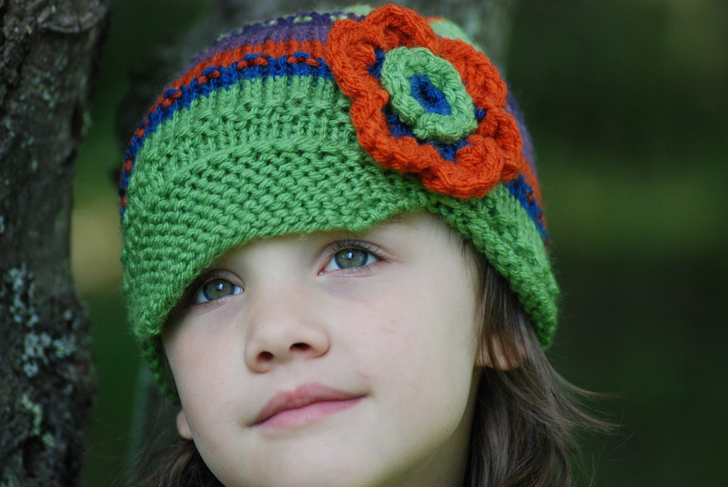 1-3 Years Boutique Child Girl Fall Flower Power Emerald and Orange Bonnet Newsboy Brim Cap Knit Hat Photo Prop Toddler