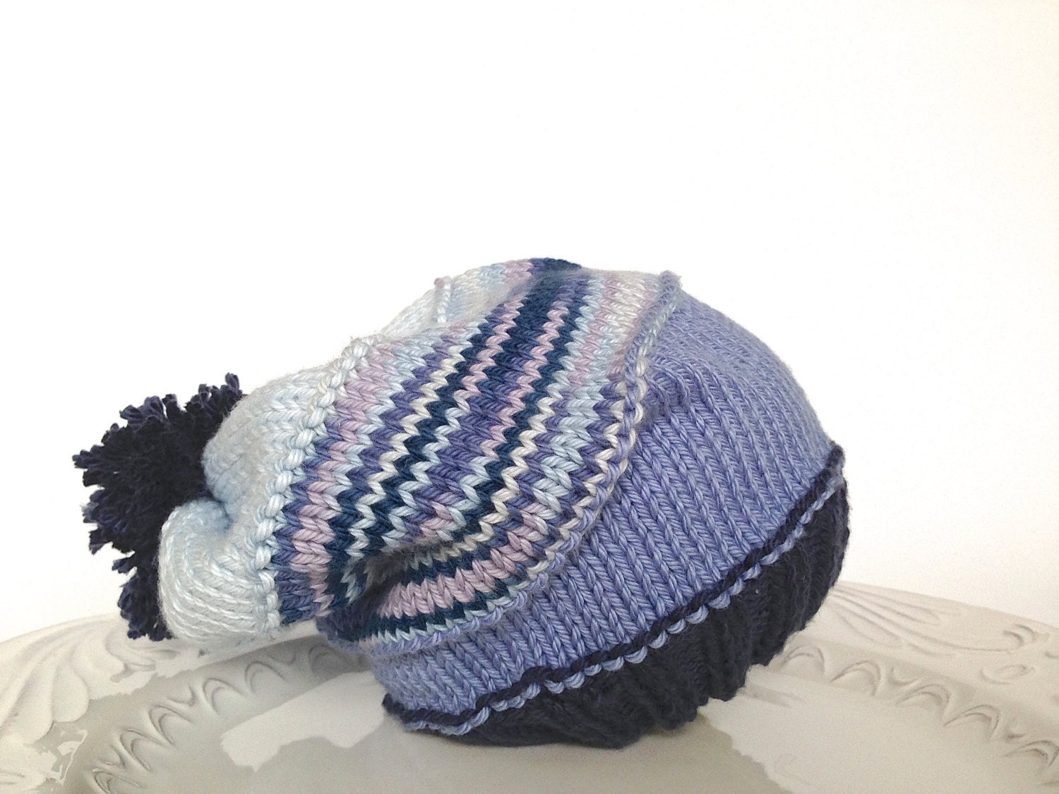 Slouchy knitted hat for baby boy in denim colors - 100 % cotton, ready to ship - TinyLoveGifts