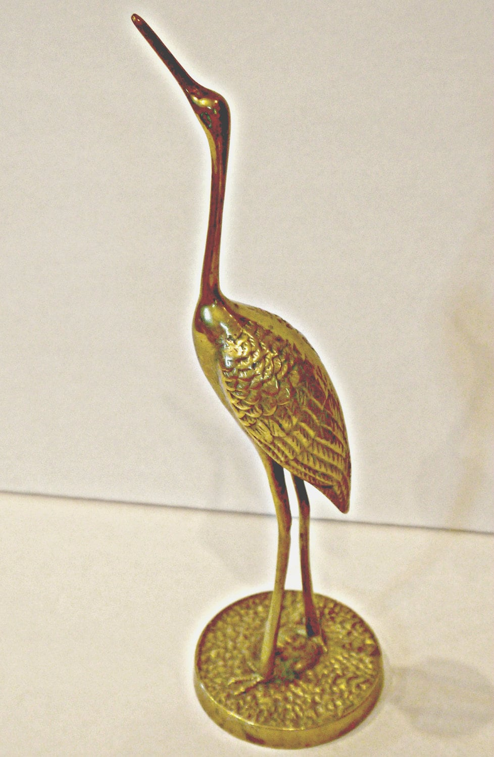 vintage brass crane egret heron art deco by west23rdstvintage. Black Bedroom Furniture Sets. Home Design Ideas