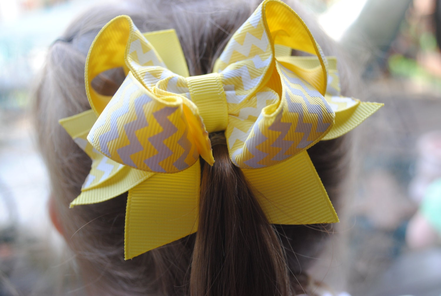 Stacked Chevron Hairbow...Yellow and White Layered Twisted Boutique Hair Bow...Toddler Hairbow...Baby Bow...Tween Hair Clip..Infant Headband - HomespunHoneyBee