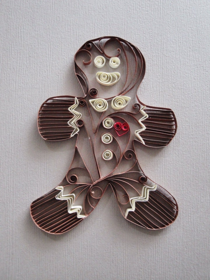 Quilled paper gingerbread man for home decor by for Quilling home decor