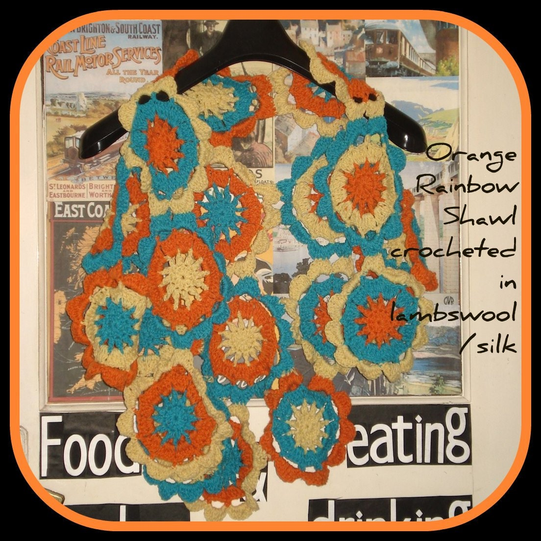 Orange Rainbow Shawl FREE SHIPPING