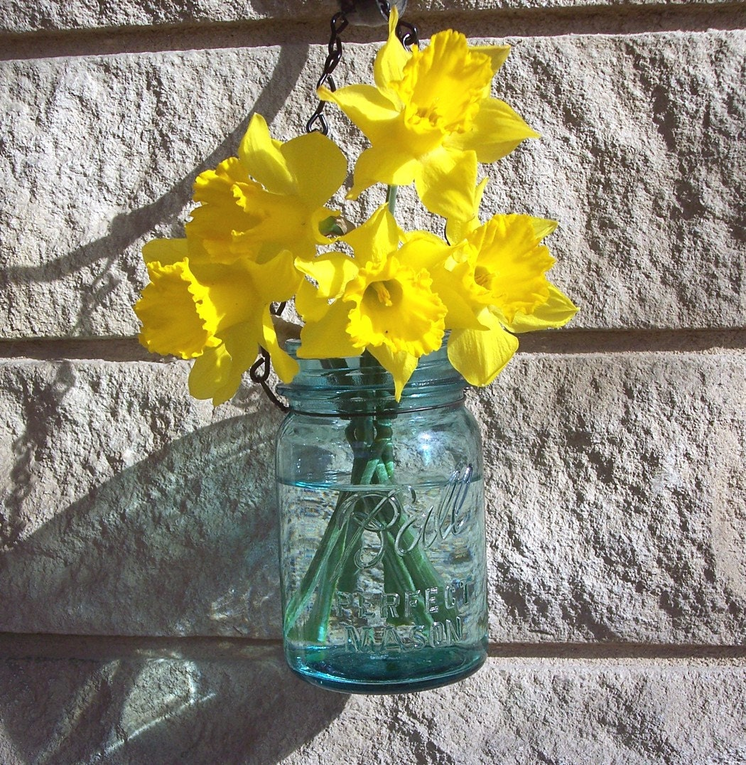 Small Hanging Jar Vase or Lantern, made from an antique Ball mason jar