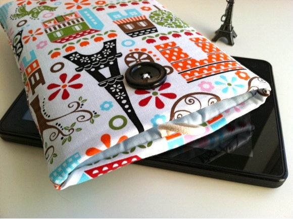 Kindle Fire Case, Kindle Cover, Kindle Fire Sleeve or Custom eReader Sleeve Padded - Paris
